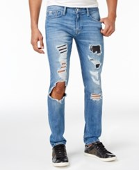 Guess Men's Slim Fit Tapered And Ripped Jeans Charger Blue Wash W Destroy