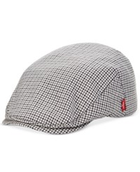 Levi's Men's Tonal Plaid Flat Top Cap Black White