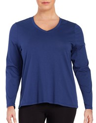 Lord And Taylor Plus Cotton V Neck Tee Blue