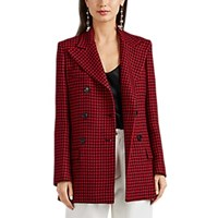 Barneys New York Houndstooth Wool Double Breasted Coat Red