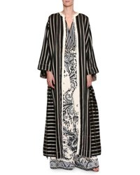 Etro Long Striped Button Front Coat Black