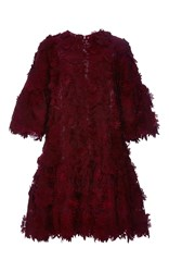 Costarellos Guipure Flower Lace Jumper Dress Burgundy