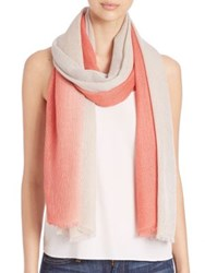 Bajra Shaded Cashmere And Silk Fishnet Scarf Coral Grey Lilac Rose