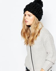 Pieces Chunky Knit Bobble Beanie Hat Black