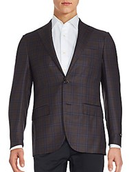 Corneliani Virgin Wool Coat Dark Brown Check