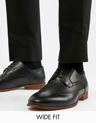 Kg By Kurt Geiger Wide Fit Brogues In Black Leather