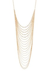 Natasha Accessories Gold Tone Multi Layered Long Necklace Metallic