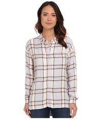 Brigitte Bailey Eddie Plaid Shirt Navy Combo Women's Long Sleeve Button Up