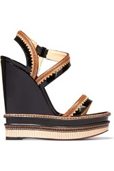 Christian Louboutin Trepi Patent Leather Wedge Sandals Black Neutral