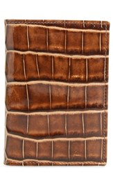 Mezlan Men's Alligator Leather Trifold Wallet Brown Honey Beige