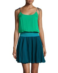 Halston Heritage Tie Shoulder Colorblock Silk Dress Grass Teal Dark Teal Women's Size L Green Dark Teal