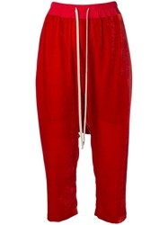 Rick Owens Cropped Track Pants Red