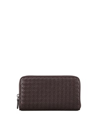 Bottega Veneta Continental Zip Around Wallet Dark Brown