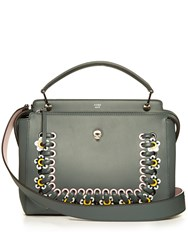 Fendi Dotcom Flower Applique Leather Bag Dark Green