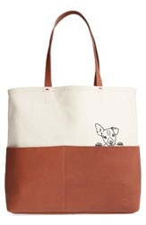 Ed Ellen Degeneres Henlee Canvas And Leather Tote Brown
