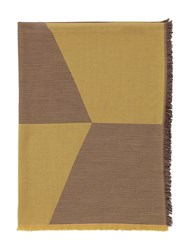 Muuto Sway Fine Merino Wool Jacquard Throw Yellow Brown