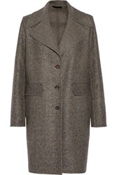 The Row Sonja Wool And Silk Blend Tweed Coat Gray