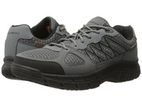 Skechers Conroe Dierks Gray Leather Mesh Black Trim Men's Work Boots