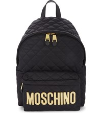 Moschino Logo Quilted Nylon Backpack Black Gold