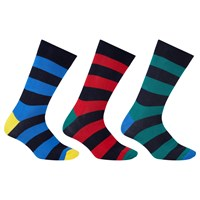 John Lewis Rugby Stripe Socks Pack Of 3 Blue Red Green