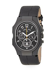 Philip Stein Teslar Classic Chronograph Stainless Steel And Leather Watch Black