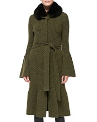 Carolina Herrera Long Coat With Fox Fur Collar Olive Green