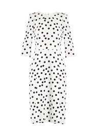 Dolce And Gabbana Polka Dot Crepe Dress White Multi