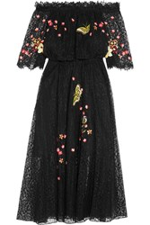 Temperley London Leo Off The Shoulder Embroidered Lace Midi Dress Black