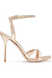 Miu Miu Crystal Embellished Metallic Leather Sandals Gold