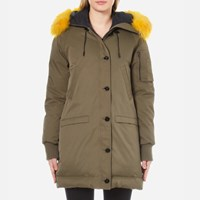 Kenzo Women's Removable Yellow Fur Lined Long Parka Darker Khaki Green