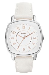Fossil Women's 'Idealist' Leather Strap Watch 38Mm White Silver