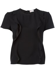 Red Valentino Frilled Front T Shirt Black