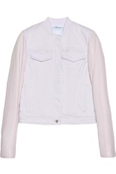 Alexander Wang T By Leather Sleeved Denim Jacket