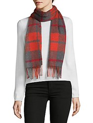 Saks Fifth Avenue Cashmere Plaid Scarf Red