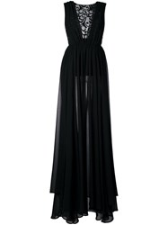 Christian Pellizzari Lace Panel Slit Dress Black