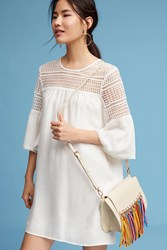 Anthropologie Petite Lace Cutout Dress White
