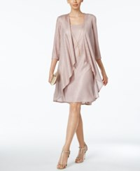R And M Richards Shift Dress Draped Jacket Rose Gold