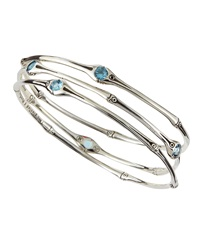 John Hardy Bamboo Set Of Three Swiss Blue Topaz Bangles