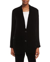 Vince Velvet Two Button Boyfriend Blazer Black