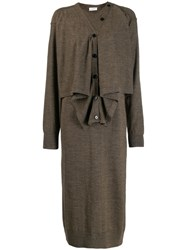 Christophe Lemaire Layered Knitted Midi Dress Brown