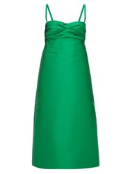 N 21 No. Gathered A Line Satin Dress Green