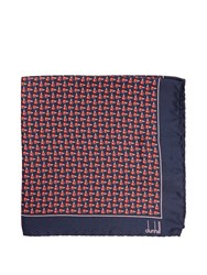 Dunhill Wing Nut Print Silk Pocket Square Red