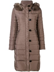 Armani Jeans Fur Collar Padded Coat Women Feather Down Acrylic Modacrylic Polyester 46 Nude Neutrals