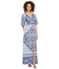 Hale Bob Beach Belle Rayon Stretch Satin Woven Maxi Dress Navy Women's Dress