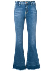 Don't Cry Fringed Bootcut Jeans Blue