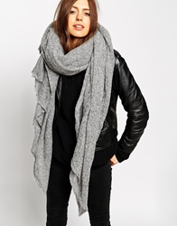 Asos Oversized Knit Scarf Lightgrey