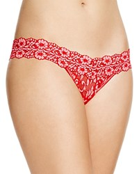 Hanky Panky Thong Cross Dyed Signature Lace Low Rise 591054 Red Lip Gloss