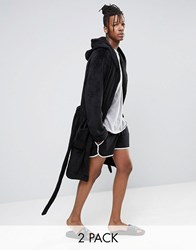 Asos Fleece Dressing Gown Extreme Runner Short 2 Pack Black Black Multi