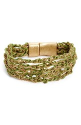 Treasure And Bond Women's Thread Layer Chain Thread Bracelet Olive Green Gold