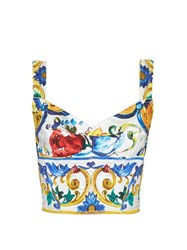 Dolce And Gabbana Majolica Print Floral Brocade Crop Top White Multi